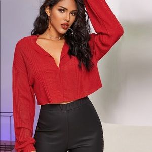 3 for $45 Ribbed Notched Raw-Cut Crop Top nwt